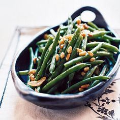 Garlicky Green Beans with Pine Nuts | Use a spray of Winona Pure Olive Oil and you are good to go! | #PurifyYourLIfe