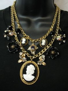 Repurposed Vintage Jewelry Statement Necklace Couture Assemblage Cameo Flowers Rhinestones Rome 1 by SunnyDayVintage.com