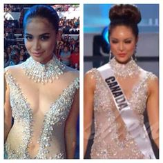 Ann Curtis and Miss Canada Riza Santos wearing the same Francis Libiran white translucent gown. See through gown.