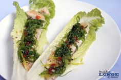 Swai Lettuce Wraps with Seaweed Salad! Low carb and so delicious! #cleaneating #fitness #lowcarb #recipes