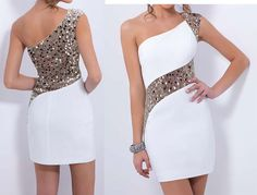 One-Shoulder Sequined Party Dress