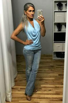 Great Deals on Slimming Tops! Gray hair transition, long gray hair, natural gray hair, over 40 Over 40 Outfits, Jean Outfits, Transition To Gray Hair, Long Gray Hair, Aging Gracefully, Great Deals, Bell Bottom Jeans, What To Wear, Skinny Jeans