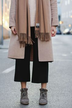 tifmys – Coat, culottes and turtleneck sweater: Zara | Scarf: Acne Studios Canada | Sneakers: Isabel Marant Bobby | Earrings: Maschalina