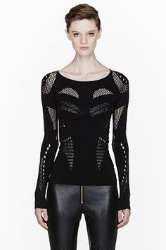 McQ Alexander McQueen Black Stretch Mesh Crewneck Shirt for women | SSENSE