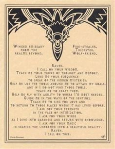 RAVEN-Prayer-Parchment-Poster-or-Page-for-Book-of-Shadows