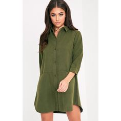 Marnie Khaki Pocket Detail Shirt Dress ($32) ❤ liked on Polyvore featuring dresses, green, green sleeve dress, green dress, pocket dress, button front shirt dress and button front dress