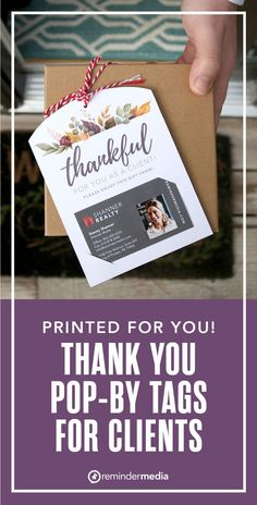 This card is perfect for Thanksgiving, or as a simple every day thank you to let your clients know how much you appreciate their business. Just attach your business card to the bottom so they know who to contact. real estate printable - realtor printables - pop-by tags - real estate pop bys - realtor pop by ideas - get more referrals Relationship Marketing, Thanks For The Gift, Gratitude, Gift Tags, Business Cards, Appreciation, Thankful, Bys, Simple