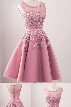 Simple Prom Dress, elegant Pink Tulle Short Homecoming Dress, Appliques Prom Dress, Girl Graduation Dresses in 2020 Dama Dresses, Pink Party Dresses, Sexy Dresses, Short Dresses, Formal Dresses For Girls, Pink Vintage Dresses, Pretty Dresses, Casual Dresses, Women's Casual