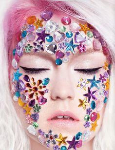 random confetti/glitter/etc on models face