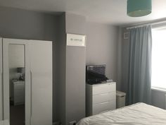 Dulux Chic Shadow, works perfectly in my bedroom, reflects the light just perfectly! Boys Bedroom Colors, Gray Bedroom, Grey Bedding, Bedroom Ideas, Chic Shadow Bedroom, Dulux Chic Shadow, Grey Bathroom Paint, Grey Bathrooms, Dulux Warm Pewter