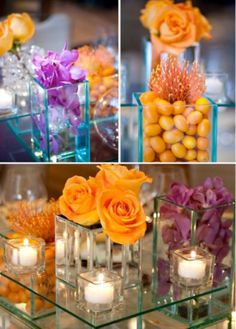 I really like the bottom center pieces but mixed with green also