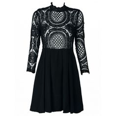 Choies Black High Neck Crochet Lace Panel Skater Dress ($20) ❤ liked on Polyvore featuring dresses, white, white day dress, high neck dress, skater dress, high neck white dress and panel skater dress