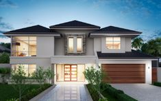 Featuring a stunning front elevation, grand curved staircase and spacious upstairs sitting area, the luxurious ambience of this home is. Double Storey House, 2 Storey House Design, House Front Design, Modern House Design, My House Plans, Modern House Plans, Modern Houses, Beautiful House Plans, Architectural House Plans