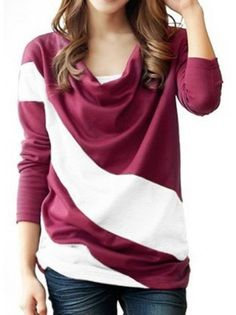 Striped Draped Collar  Knitwear Pullover....love this style of pullover!