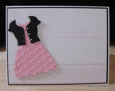 "♥♥♥ this Stampin'Up! ""Delicate Detail Lace Tape"" card by France Martin aka Frenchie.  Especially ♥ the Dress Form with the textured dress and cute cardi ... ♥♥♥"