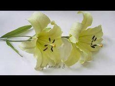 DIY- Lily flower from crepe paper- lirio del papel crepe- 百合花绉纸- Hoa ly giấy nhún - YouTube