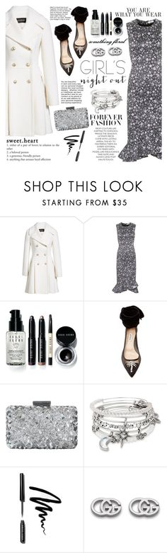 """Hey, Besties: Girls' Night"" by martinabb ❤ liked on Polyvore featuring GUESS, Erdem, Bobbi Brown Cosmetics, Attico, Oscar de la Renta, Alex and Ani and Gucci"