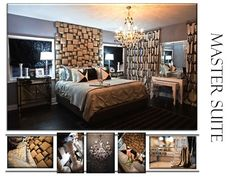 bedrooms - Benjamin Moore - Pigeon Gray - bedroom christopher guy headboard black white gray mirrored nightstands crystal chandelier glass lamps striped rug white nesting console tables mitered pillows blue walls paint color