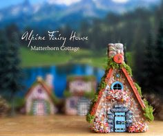 Alpine Fairy House - Matterhorn Cottage - Miniature Handcrafted Fae House with Terracotta Roof, Blooming Flower Boxes and Moss Spring Wildflowers, Fairy Village, House On The Rock, Gnome Garden, Blooming Flowers, Fairy Houses, Flower Boxes, Little Houses, Cottage Style