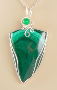 Malachite SS Wire Wrapped Pendant  #handmade  #thecraftstar  $72.00