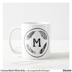Custom Black White Boho Feathers Monogram Coffee Mug