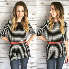 LuLaRoe striped Irma and a belt | Belted Irma top