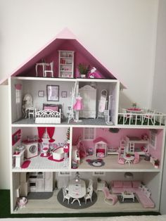 Love the colors. Maybe for lol house project. Wooden Dollhouse, Ikea Dollhouse, Dollhouse Furniture, Cute Furniture, Mini Doll House, Barbie Doll House, Barbie Dolls, Anime Dolls, Toy Rooms