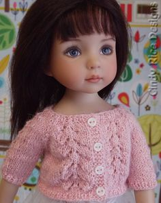 Hand knit lace cardigan made for Dianna Effner's Little Darling dolls by Cindy Rice Designs.