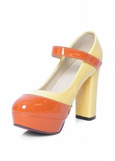 Carol Shoes Orange and Yellow Colour Block Mary Jane Platform Shoes.  Patent Leather. Thick Column Heels.