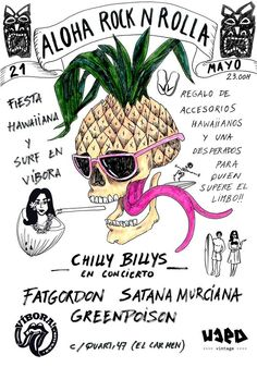 #vibora #rock #piña #skull #ananas #drawing #illustration #hawaiian tropical #surf  Azucena Gonzalez
