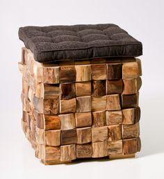 Woven Wood Cube Stool. FREE SHIPPING.. $149.00, via Etsy.