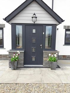 Ideas House Front Modern Ideas House Front Modern Porches houseAnthracite composite front door and Marley Cedral cladding in light grey on new .Anthracite composite front door and Marley Cedral cladding in light grey Porch Uk, Front Door Porch, Porch Doors, Front Porch Design, House Front Door, House With Porch, House Entrance, Porch On Bungalow, Front Door Entrance