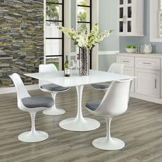 LIPPA SQUARE WOOD TOP DINING TABLE IN WHITE