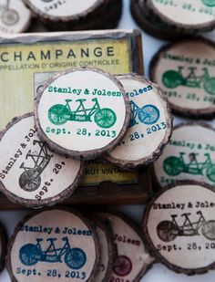 DIY Rustic wood magnets for save the dates or favors at a farm wedding