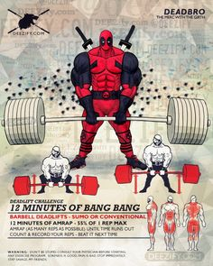 leg exercise: deadlift 12 minute challenge with deadpool Leg exercises to get you strapped Ace Fitness, Physical Fitness, Fitness Goals, Fitness Tips, Muscle Fitness, Hero Workouts, At Home Workouts, Lifting Workouts, Extreme Workouts