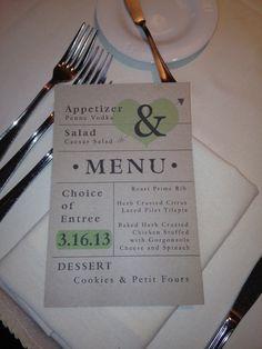 Wedding Dinner Entree Menu - Create a fun design for your menus instead of the standard list.