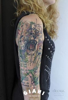 Better to live 1 day as a lion than 100 years as a sheep trash polka tattoo