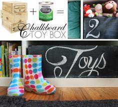 Great Kids Chalkboard Toy Box Idea!  #chalkboard_paint #toy_box
