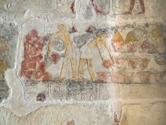 Women making baked goods, pouring the flour mixture into cone-shaped molds, baking the molds, then emptying them, piling the pastries into a mound. Mastaba tomb of Niankhkhnum and Khnumhotep. 5th dynasty, reign of King Niuserre, 2500BC. Saqqara, Lower Egypt.
