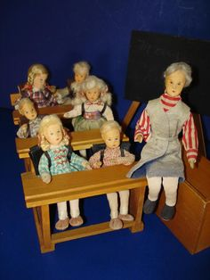 Boxed Erna Meyer Lilliput Schoolroom with 7 Dolls & Furniture Germany from romancingthedoll on Ruby Lane