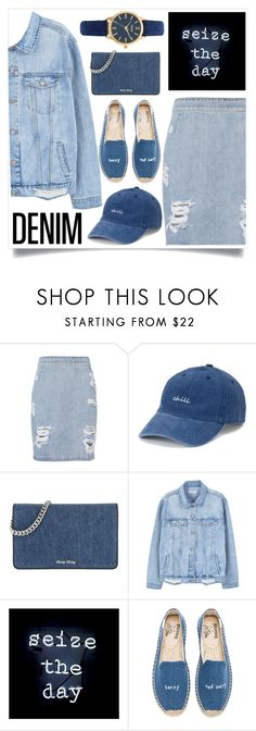 """""""Denim"""" by madeinmalaysia ❤ liked on Polyvore featuring IRO, SO, Miu Miu, MANGO, Oliver Gal Artist Co., Soludos, Vivani and alldenim"""