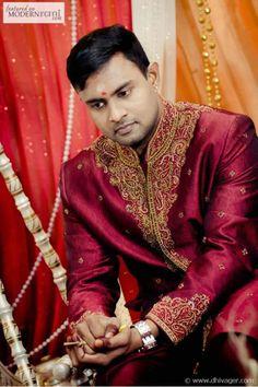 Red Groom Sherwani Kurta South Asian Hindu Wedding Ceremony - more inspiration @ http://www.ModernRani.com