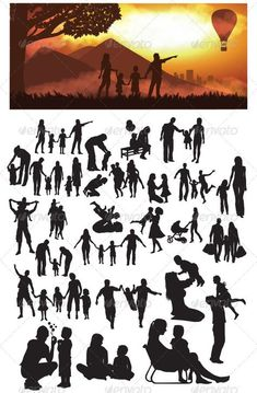 Family Silhouettes - People Characters