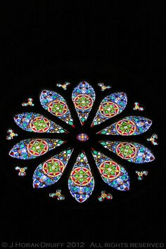 Rose window in the Eglise St Pierre, Auvillar, France - September 2012