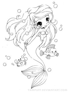 Ariel - The Little Mermaid - Chibi by *YamPuff on deviantART another generous person letting us use her art, want to do on a card, she is beautiful