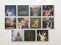 Baylor University coasters // Cute way to remember the big Baylor moments!