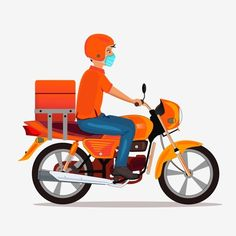 Delivery Boy With Mask Riding Bike Vector, Scooter Clipart, Byke, Delivery Bike PNG and Vector with Transparent Background for Free Download