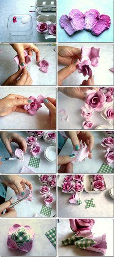 Sem saber o que fazer com as caixas de ovos ?     Então eis ai uma ideia delicada,linda e ecologicamente correta!!   Fazer flores com caixa...