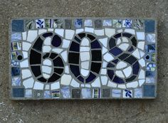 Rectangular Mosaic house number with 3 digits by ehmosaics on Etsy, $50.65
