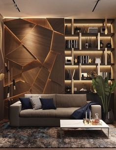 This backlit wood wall design is stunning! What a unique accent wall. What are your thoughts on this design?⁠ Tag a friend who would like this in their home! Office Interior Design, Interior Design Living Room, Modern Interior, Living Room Designs, Living Room Decor, Law Office Design, Interior Designing, Luxury Interior Design, Interior Design Inspiration
